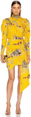 Marianna Senchina SENCHINA Leopard Print Mini Dress in Yellow | FWRD