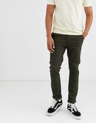 Asos Design DESIGN skinny chinos in dark khaki