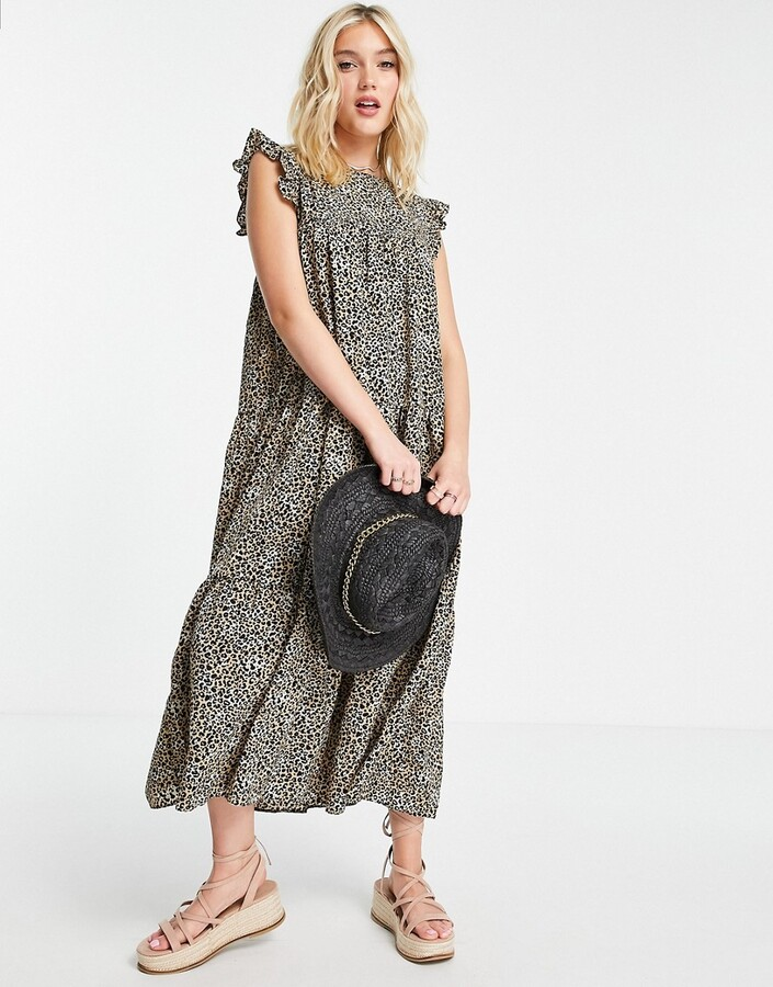 ASOS DESIGN sleeveless tiered midi dress with frills in leopard print
