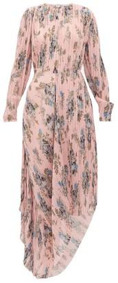 Preen by Thornton Bregazzi Delaney Asymmetric Floral-print Plisse Dress - Pink Print