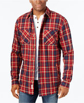 Weatherproof Vintage Men's Big and Tall Twill Plaid Shirt Jacket, Classic Fit