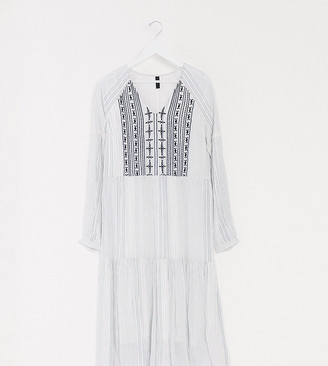 Y.A.S Tall maxi dress with embroidery in textured white
