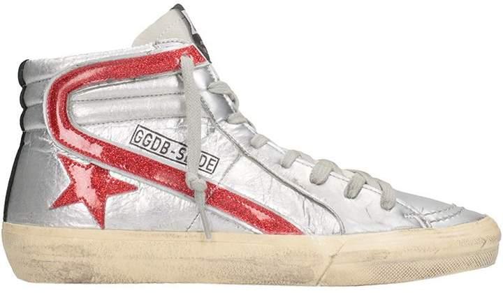 Golden Goose Slide Red Glitter Star Dance Sneakers