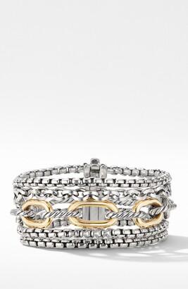 David Yurman Multi-Row Chain Bracelet with 18K Yellow Gold