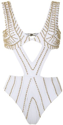 AMIR SLAMA Embroidered Cut Out Swimsuit