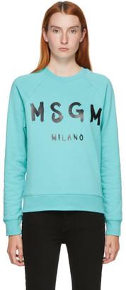 MSGM Blue Artist Logo Sweatshirt