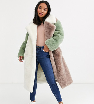 ASOS DESIGN Petite pastel borg patched maxi coat