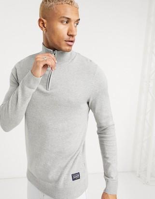 Jack and Jones Originals quarter zip sweater in gray