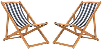 One Kings Lane Set of 2 Tisch Sling Chairs - Navy/White
