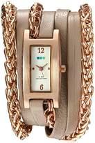 La Mer Women's Quartz Gold and Leather Watch, Color:Beige (Model: LMPALERMO1002)