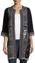 Johnny Was Taylor Half-Sleeve French Terry Embroidered Coat, Plus Size