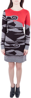 Diane von Furstenberg Multicolor Intarsia Cloud Patterned Wool Sweater Dress S