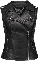 Blanc Noir Black Faux Leather Moto Vest