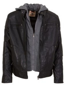 Jgv Apparel American Culture Men's Washed Faux Leather Jacket with Fleece Zip Out Hooded Bib