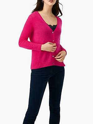 Pure Collection Gassato Rib Panel Cashmere Cardigan, Vibrant Pink