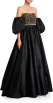 Couture Theia Beaded Bustier Taffeta Ball Gown w/ Detachable Balloon Sleeves