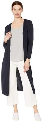 Tribal Long Sleeve Long Sweater Cardigan (White) Women's Clothing