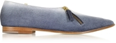 Lafayette Zoe Lee Blue Suede and White Patent Leather Loafer