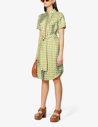 Diane von Furstenberg Ari belted graphic-print silk-satin midi dress
