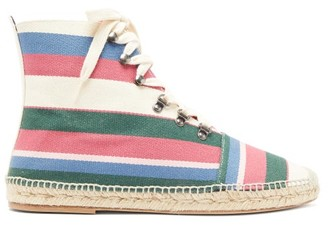 Loewe Striped Cotton High-top Espadrille Trainers - Multi