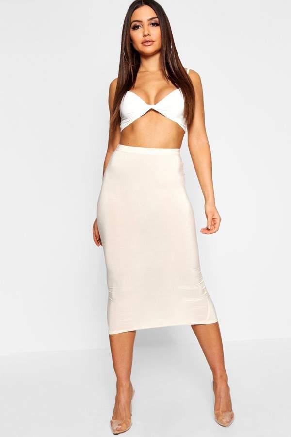 boohoo High Waist Slinky Fitted Midaxi Skirt