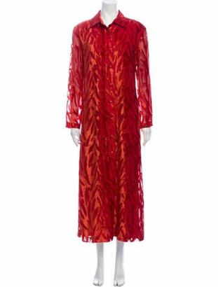 Issey Miyake Animal Print Long Dress Red