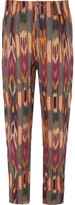 Etro - Tapered Pleated Printed Linen Trousers