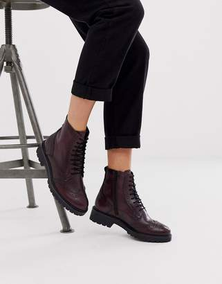 Aldo leather lace up boots-Red