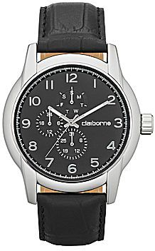 Claiborne Mens Round Dial Black Leather Multifunction Watch