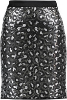 Love Moschino Satin-Trimmed Sequined Crepe Mini Skirt