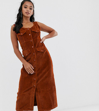 Asos DESIGN Petite cord midi dress in conker