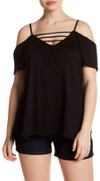 Hip Embroidered V-Neck Cold Shoulder Tee (Plus Size)