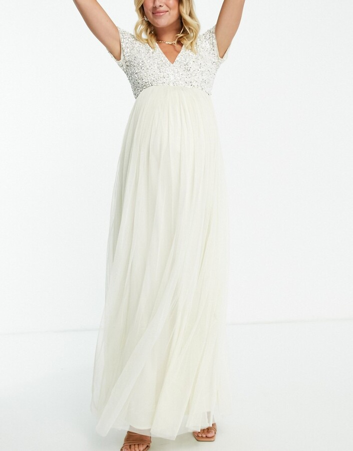 Thumbnail for your product : Maya Maternity sequin maxi dress in ecru