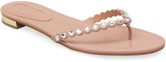 Aquazzura Tequila Flat Crystal Flip-Flop Sandals