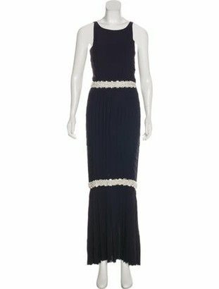 Chanel Embellished Silk Dress blue
