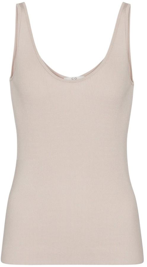 Co Ribbed-knit silk tank top