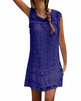YOINS Women Summer Lace Dresses Sleeveless Round Neck Loose Casual Mini Dress Long Tops for Ladies