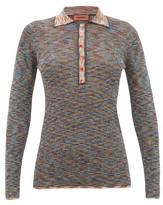 Missoni Metallic Long-sleeved Striped-knit Polo Shirt - Womens - Black Multi