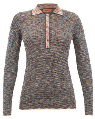 Missoni Metallic Long-sleeved Striped-knit Polo Shirt - Black Multi