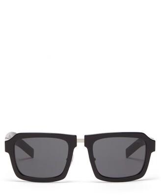 Prada Metal-insert Square Acetate Sunglasses - Mens - Black