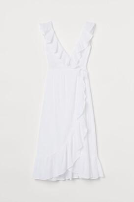 H&M Flounce-trimmed Cotton Dress - White