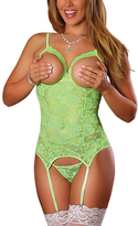 Lime Lace Cupless Garter Slip & G-String Set - Plus Too