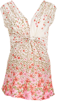 Glam Beige Floral Knotted Maternity Sleeveless Top