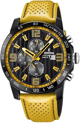 Festina 'The Originals collection' Men's Quartz Watch with Black Dial Chronograph Display and Yellow Leather strap F20339/3