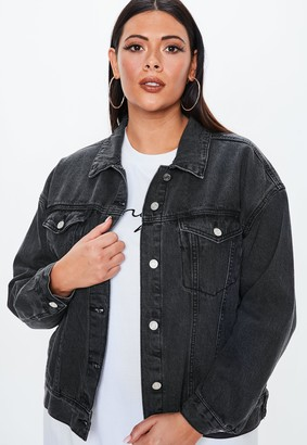 Missguided Plus Size Black Washed Denim Oversized Jacket