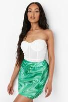 Thumbnail for your product : boohoo Marble Swirl Print Satin Slip Mini Skirt