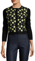 Carolina Herrera Wool Embroidered Floral Patch Cardigan