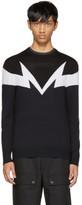 Neil Barrett Black and Navy Mirrored Thunderbolt Pullover
