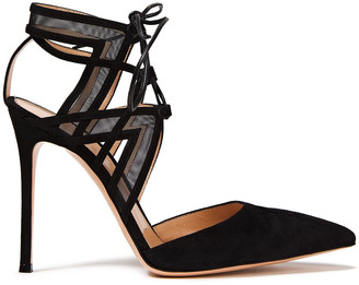 Gianvito Rossi Lace-up Cutout Mesh-paneled Suede Pumps