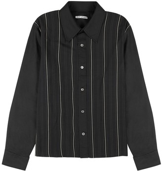 Our Legacy Black striped satin and twill shirt